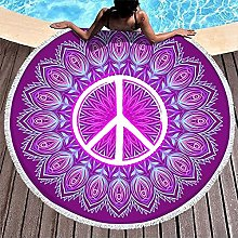 Round Beach Towel Peace and Love Colorful Flowers