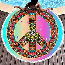 Round Beach Towel Peace and Love Ethnic Style
