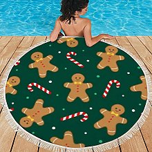 Round Beach Towel with Tassels,Picnic Blanket