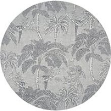 Round Beige Jacquard Woven Rug with Anthracite