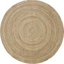 Round beige woven jute rug D150cm