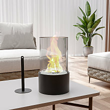 Round Bio Ethanol Tabletop Fireplace with Flame