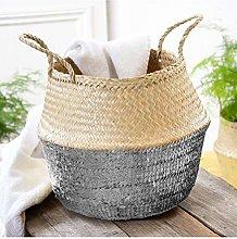 Round Braided Seagrass Basket Silver
