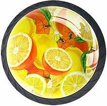 Round Cabinet Knob Yellow Lemon Handmade Unique