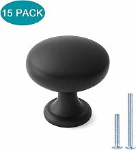 Round Cabinet Knobs Black 15 Pack Knobs for