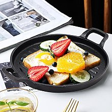 Round Cast Iron Griddle Plate, Pre-Seasoned BBQ