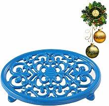 Round Cast Iron Trivet Royal Blue Trivet Mats