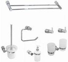 Round Chrome Bathroom Accessory Set Pack 7