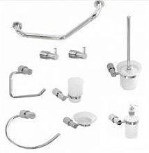 Round Chrome Bathroom Accessory Set Pack 9