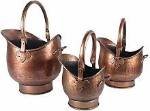 Round Coal Scuttle Bucket Hod Antique Copper