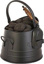 Round Coal Scuttle Bucket Hod & Shovel Black