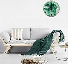 Round Digital Wall Clock,Aquamarine Green
