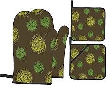 Round Doodles Spots In Green Tones Spirals Swirled
