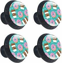 Round Door Cabinets Knobs(4-Pack),Cartoon Donut