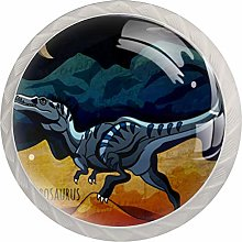 Round Door Cabinets Knobs(4-Pack),Dinosaurs in The