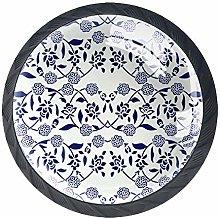 Round Drawer Handle Indigo Dye Ethnic Floral