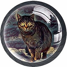 Round Drawer Handle Painting Indigo Mystical Cat