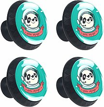 Round Drawer Handles Cartoon Panda Astronaut Green