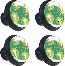 Round Drawer Handles Cow Design Green Style