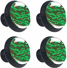 Round Drawer Handles Green Camo Military Crystal