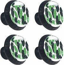 Round Drawer Handles Leaf Tropical Green Crystal
