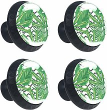Round Drawer Handles Tropical Leaf Green Crystal