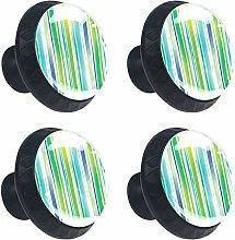 Round Drawer Handles Watercolor Stripes Green Blue