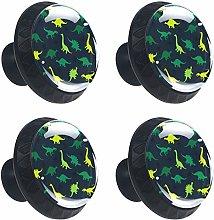 Round Drawer Handles Yellow Green Dinosaurs