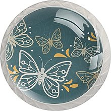 Round Drawer Knobs Butterfly Cabinet Knobs White