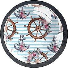 Round Drawer Knobs Rudder with Flowers Cabinet