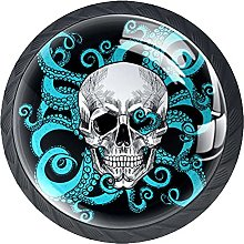 Round Drawer Knobs Skull with Octopus Cabinet