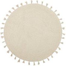 Round Ecru Cotton Rug with Tassels D1000