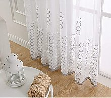Round Embroidery Tulle Curtain Pencil Pleat Modern