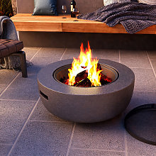 Round Fire Pit Outdoor Heater Garden Barbecue Wood