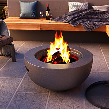 Round Firepit Wood Burning Fire Pit Bowl BBQ Grill