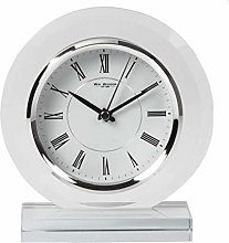 Round Glass Mantel Table Clock Contemporary Roman