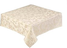 Round Gold Christmas Tablecloth 68 inch (173 cm)