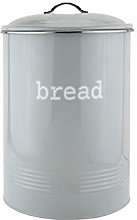 Round Grey Enamel Bread Bin Crock Storage Canister
