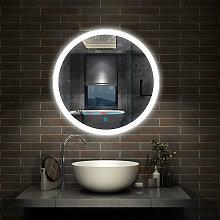 Round Illuminated Bathroom Mirror with Demister 600x600 Circle