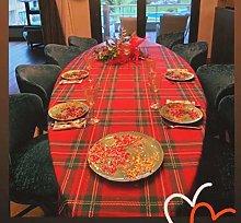 Round Kosmos Tartan Tablecloth (Red, 160x220 cm