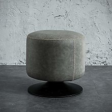 Round Leather Ottoman, Rotatable Sofa Bench Porch