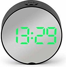Round LED Mirror Alarm Clock Digital Desk Clock