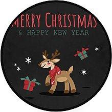 Round mat Christmas Reindeer Gift Box