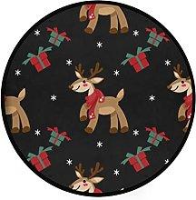 Round mat Non Slip Gym Play Mat Christmas Reindeer