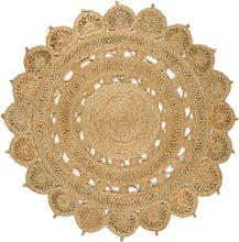 Round Natural Hand Woven Jute Rug 150x150cm - Zira