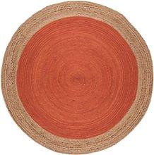 Round Orange Jute Rug 160x160cm - Faro