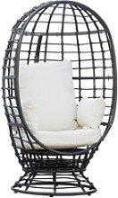 Round PE Ratttan Wicker Swivel Basket Egg Chair w/