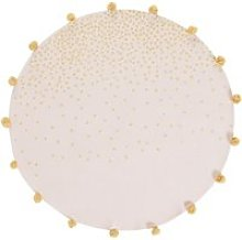 Round Pink Cotton Rug with Gold Spots and Tassels
