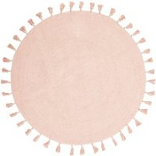 Round Pink Cotton Rug with Pom Poms D100