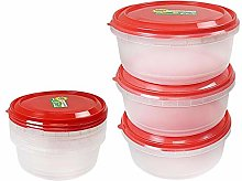 Round Plastic Food Container Storage Box with Red